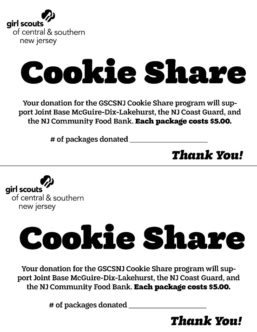 2021 Cookie Share Receipt - Black and White